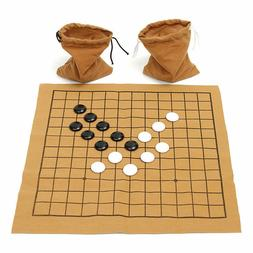90PCS Go Bang Chess Game Set Suede Leather Sheet Board Child