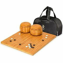 "Bamboo 0.8"" Go Board w/ Double Convex Melamine Stones and Bo"