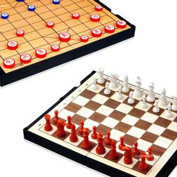 Chess + Baduk Reversible Magnetic Both Sides Go Board Game W