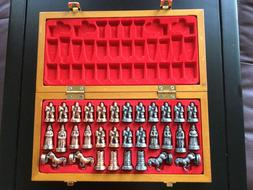 Collectable Wood Board with Metal Pieces Chinese Go Chess Ga
