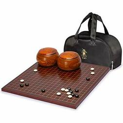 "Dark Cherry Veneer 0.6"" Go Game Set Board w/ Double Convex S"