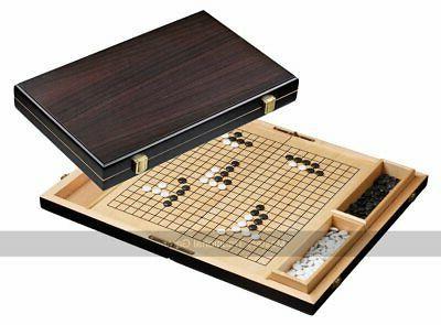 folding go set in wooden case