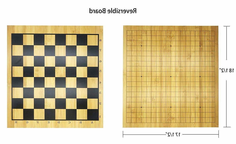 Full 2in1 Chess Game Bamboo Board, Bakelite Stones