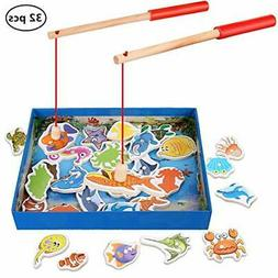 Magnetic Wooden Fishing Toy Set - Fishing Game Lets Go Fishi