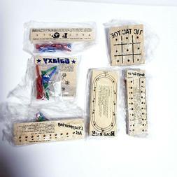 Set of 6 Wooden Travel Peg Games Galaxy IQ Tic Tac Toe Road
