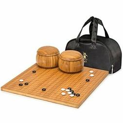Yellow Mountain Imports Go Game Set with Etched Bamboo Go Bo